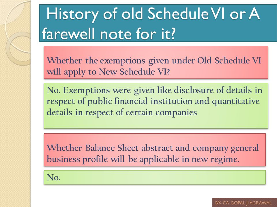 History of old Schedule VI or A farewell note for it? History of old Schedule VI or A farewell note for it? BY- CA GOPAL JI AGRAWAL Whether the exempt