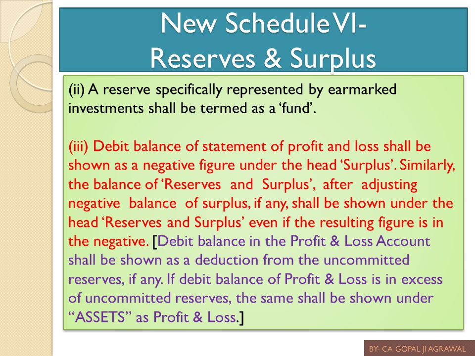 New Schedule VI- Reserves & Surplus BY- CA GOPAL JI AGRAWAL (ii) A reserve specifically represented by earmarked investments shall be termed as a fund