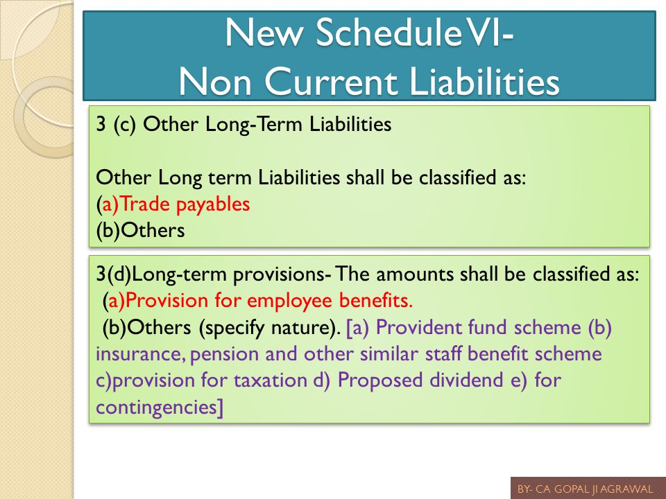 New Schedule VI- Non Current Liabilities BY- CA GOPAL JI AGRAWAL 3 (c) Other Long-Term Liabilities Other Long term Liabilities shall be classified as: