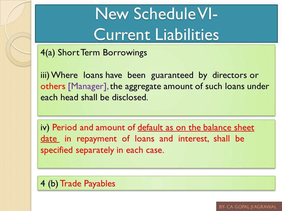 New Schedule VI- Current Liabilities BY- CA GOPAL JI AGRAWAL 4(a) Short Term Borrowings iii) Where loans have been guaranteed by directors or others [