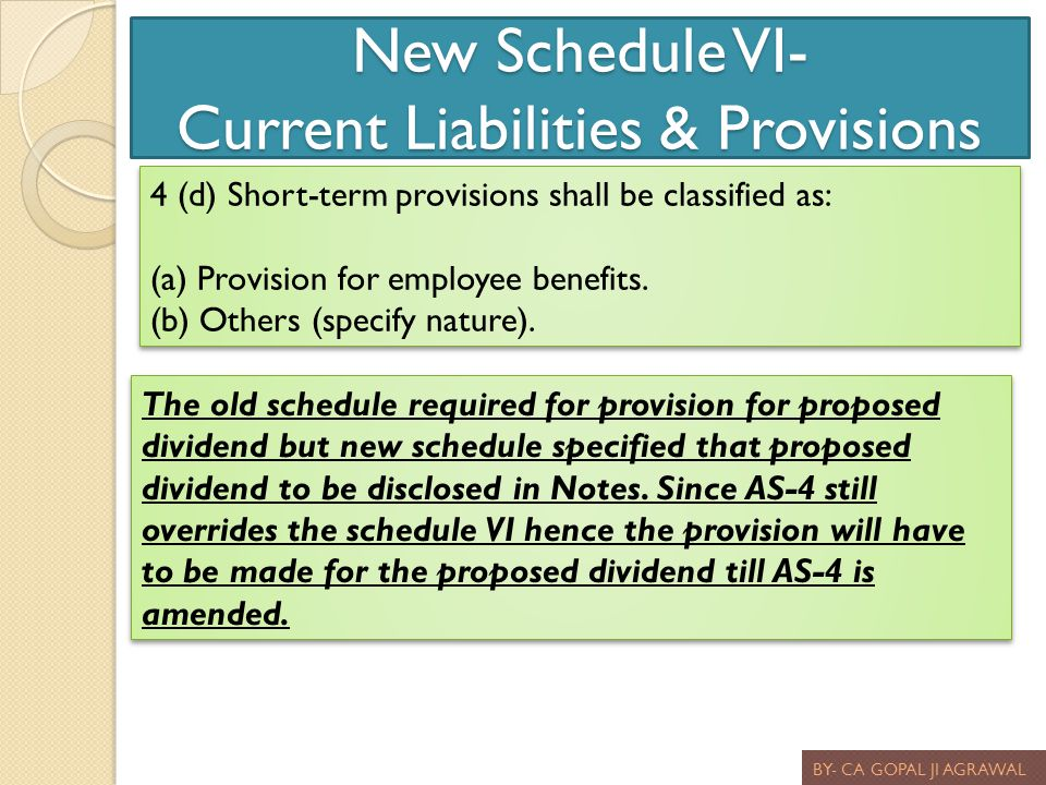 New Schedule VI- Current Liabilities & Provisions BY- CA GOPAL JI AGRAWAL 4 (d) Short-term provisions shall be classified as: (a) Provision for employ