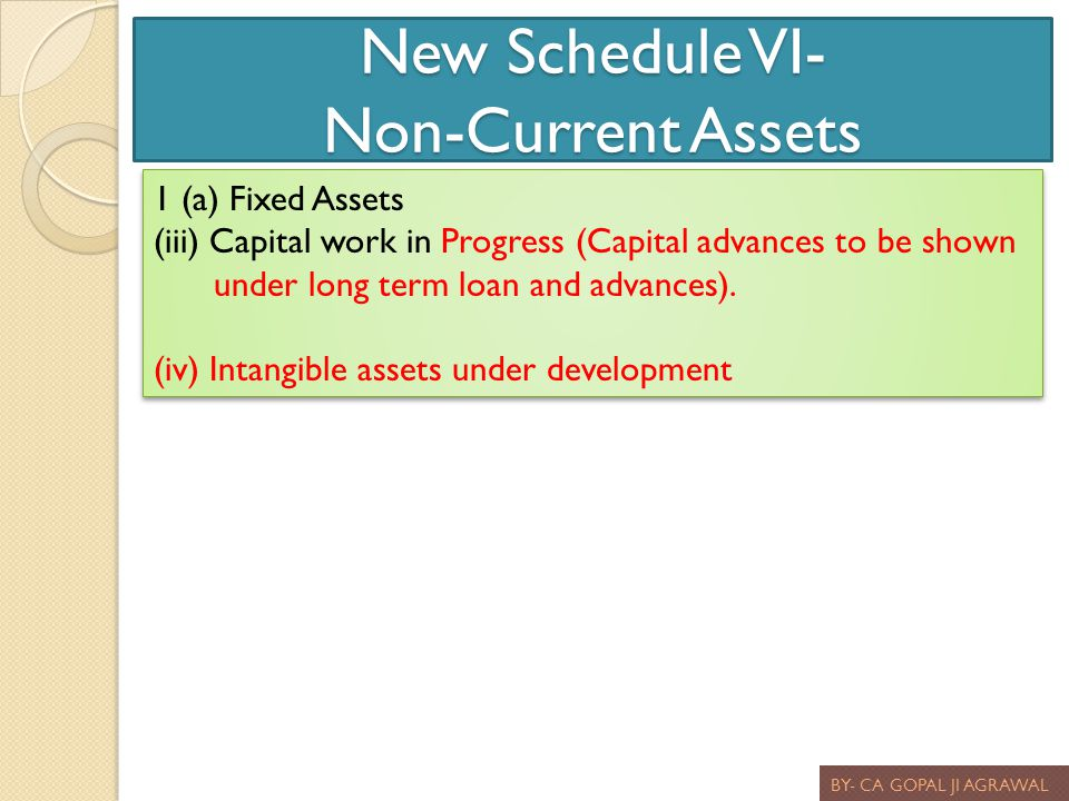New Schedule VI- Non-Current Assets BY- CA GOPAL JI AGRAWAL 1 (a) Fixed Assets (iii) Capital work in Progress (Capital advances to be shown under long