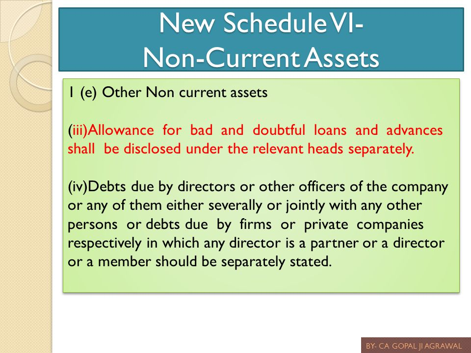 New Schedule VI- Non-Current Assets BY- CA GOPAL JI AGRAWAL 1 (e) Other Non current assets (iii)Allowance for bad and doubtful loans and advances shal
