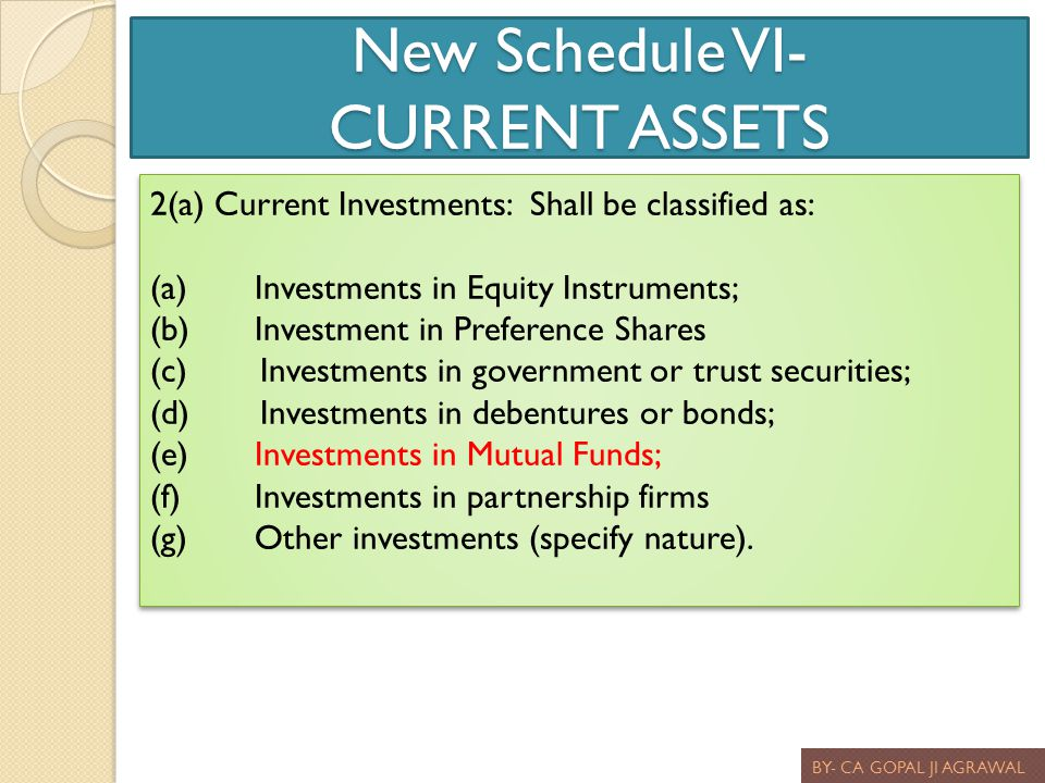 New Schedule VI- CURRENT ASSETS BY- CA GOPAL JI AGRAWAL 2(a) Current Investments: Shall be classified as: (a)Investments in Equity Instruments; (b)Inv