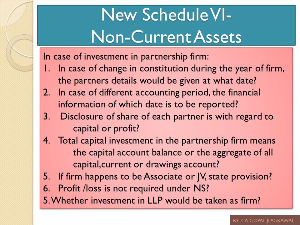 New Schedule VI- Non-Current Assets BY- CA GOPAL JI AGRAWAL In case of investment in partnership firm: 1.In case of change in constitution during the