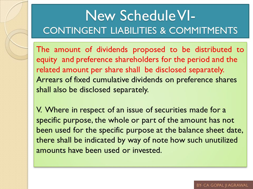 New Schedule VI- CONTINGENT LIABILITIES & COMMITMENTS BY- CA GOPAL JI AGRAWAL The amount of dividends proposed to be distributed to equity and prefere