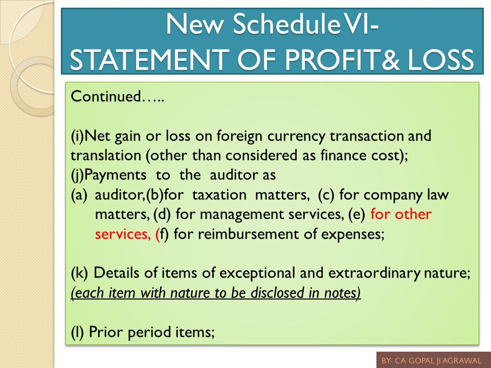 New Schedule VI- STATEMENT OF PROFIT& LOSS BY- CA GOPAL JI AGRAWAL Continued….. (i)Net gain or loss on foreign currency transaction and translation (o