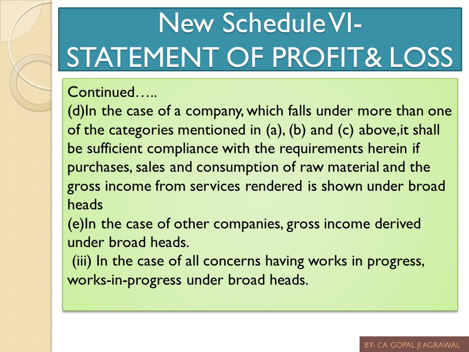 New Schedule VI- STATEMENT OF PROFIT& LOSS BY- CA GOPAL JI AGRAWAL Continued….. (d)In the case of a company, which falls under more than one of the ca