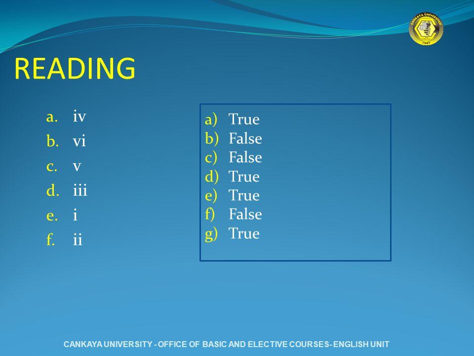 READING a. iv b. vi c. v d. iii e. i f. ii a)True b)False c)False d)True e)True f)False g)True CANKAYA UNIVERSITY - OFFICE OF BASIC AND ELECTIVE COURS