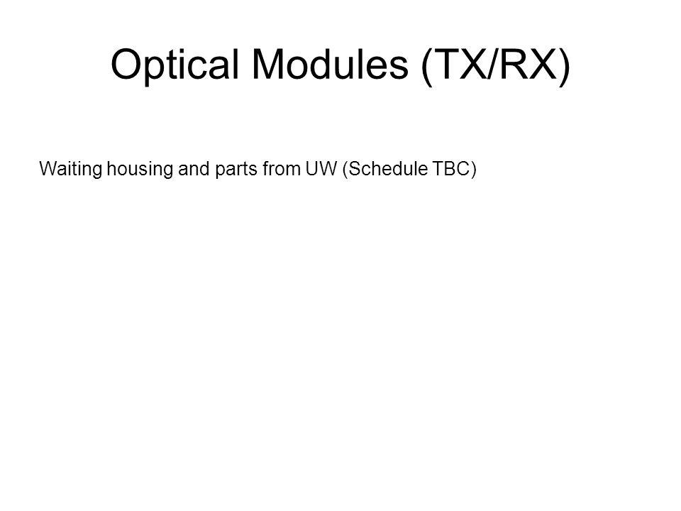 Optical Modules (TX/RX) Waiting housing and parts from UW (Schedule TBC)