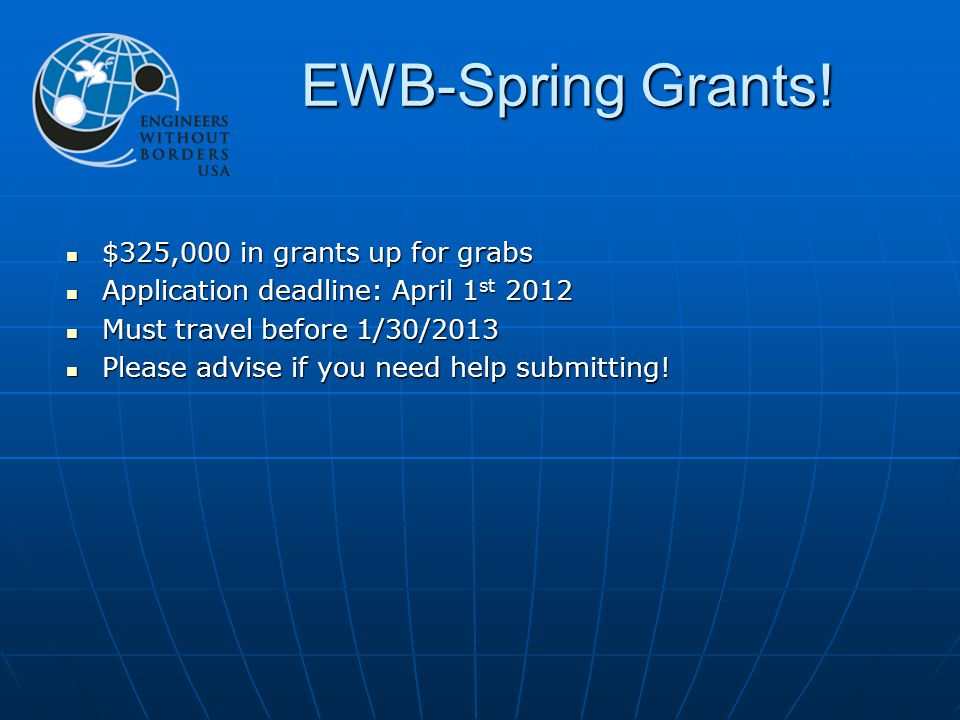 EWB-Spring Grants.