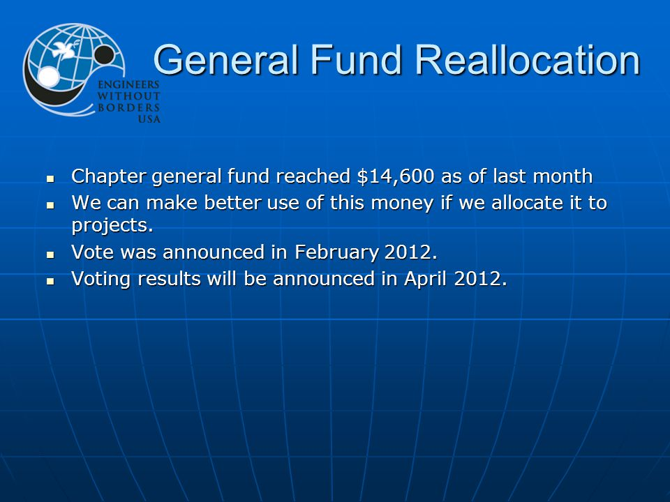 General Fund Reallocation Chapter general fund reached $14,600 as of last month Chapter general fund reached $14,600 as of last month We can make better use of this money if we allocate it to projects.