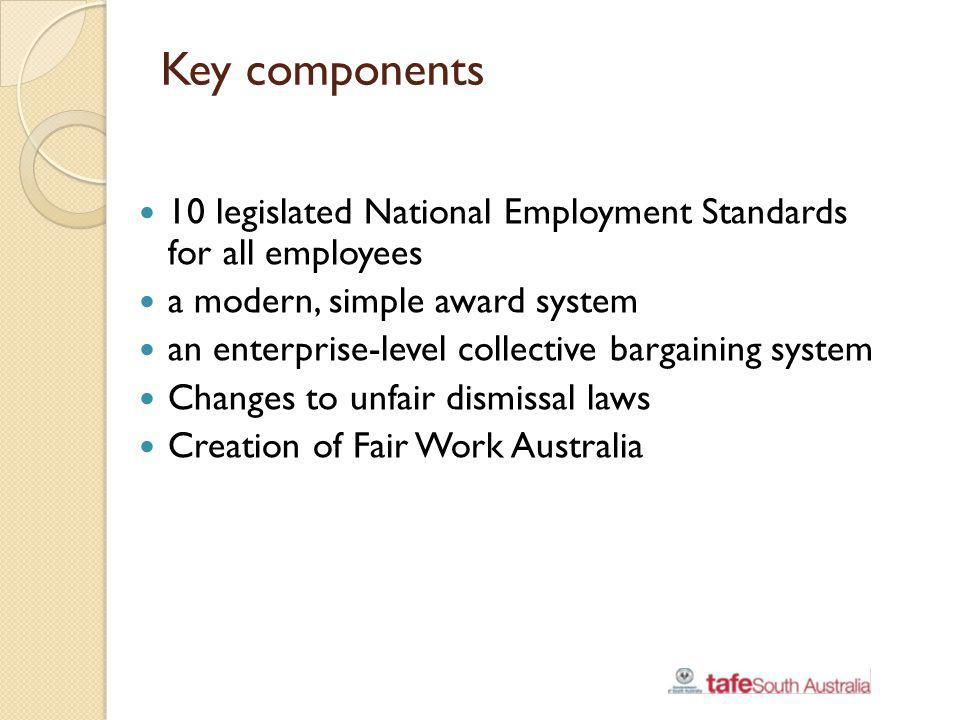 Key components 10 legislated National Employment Standards for all employees a modern, simple award system an enterprise-level collective bargaining s