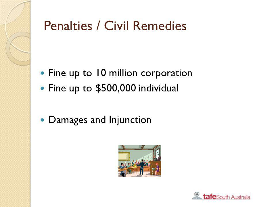 Penalties / Civil Remedies Fine up to 10 million corporation Fine up to $500,000 individual Damages and Injunction