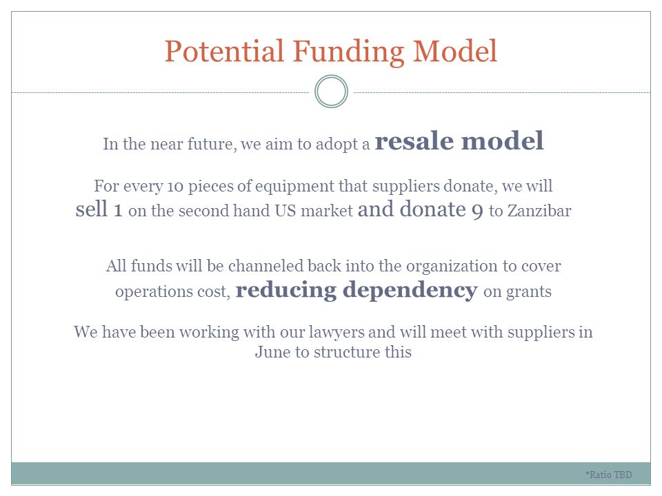 Potential Funding Model In the near future, we aim to adopt a resale model For every 10 pieces of equipment that suppliers donate, we will sell 1 on the second hand US market and donate 9 to Zanzibar *Ratio TBD All funds will be channeled back into the organization to cover operations cost, reducing dependency on grants We have been working with our lawyers and will meet with suppliers in June to structure this