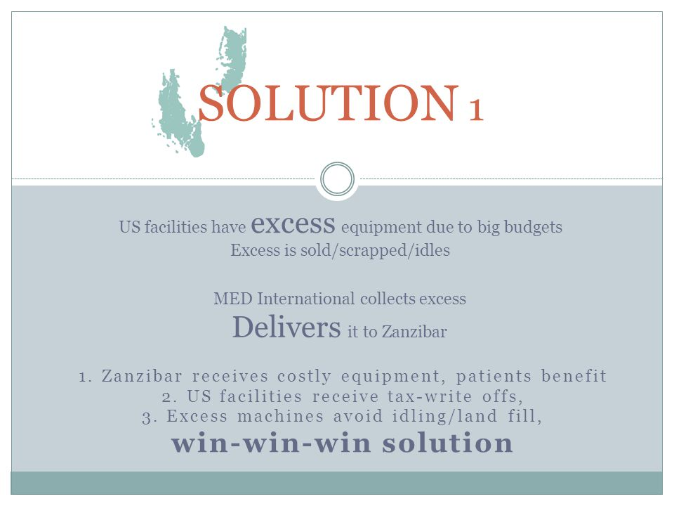 1. Zanzibar receives costly equipment, patients benefit 2.