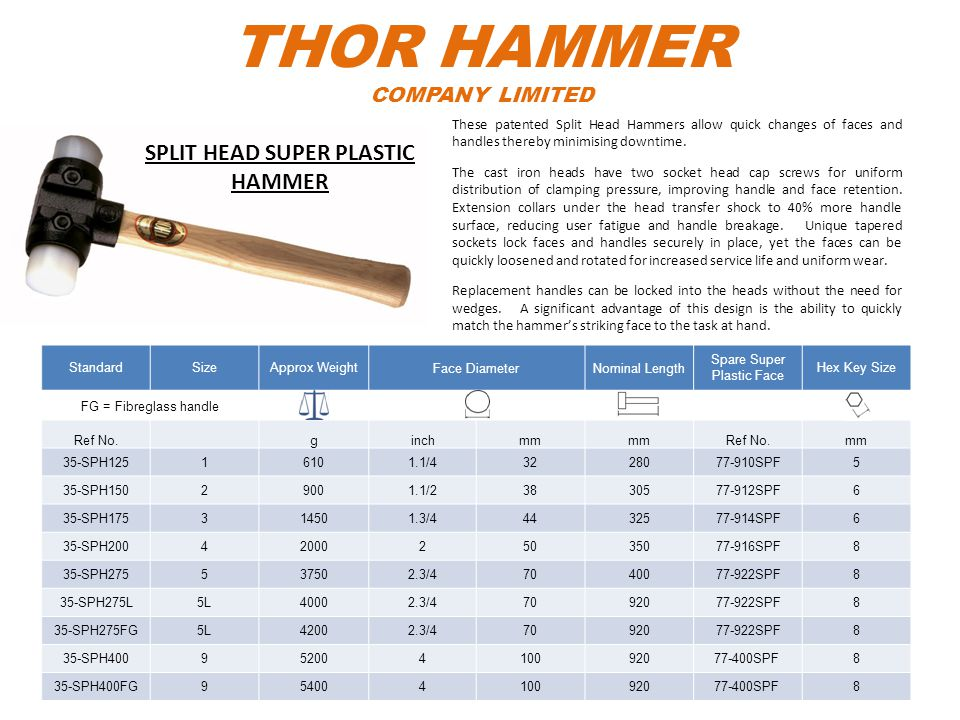 THOR HAMMER COMPANY LIMITED StandardSizeApprox WeightFace DiameterNominal Length Spare Super Plastic Face Hex Key Size FG = Fibreglass handle Ref No.