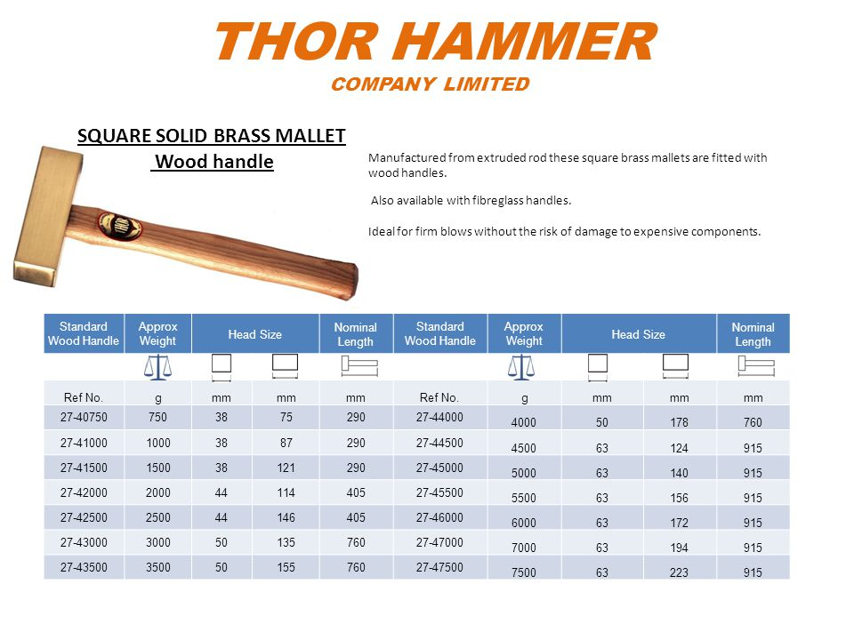 THOR HAMMER COMPANY LIMITED Standard Wood Handle Approx Weight Head Size Nominal Length Standard Wood Handle Approx Weight Head Size Nominal Length Re