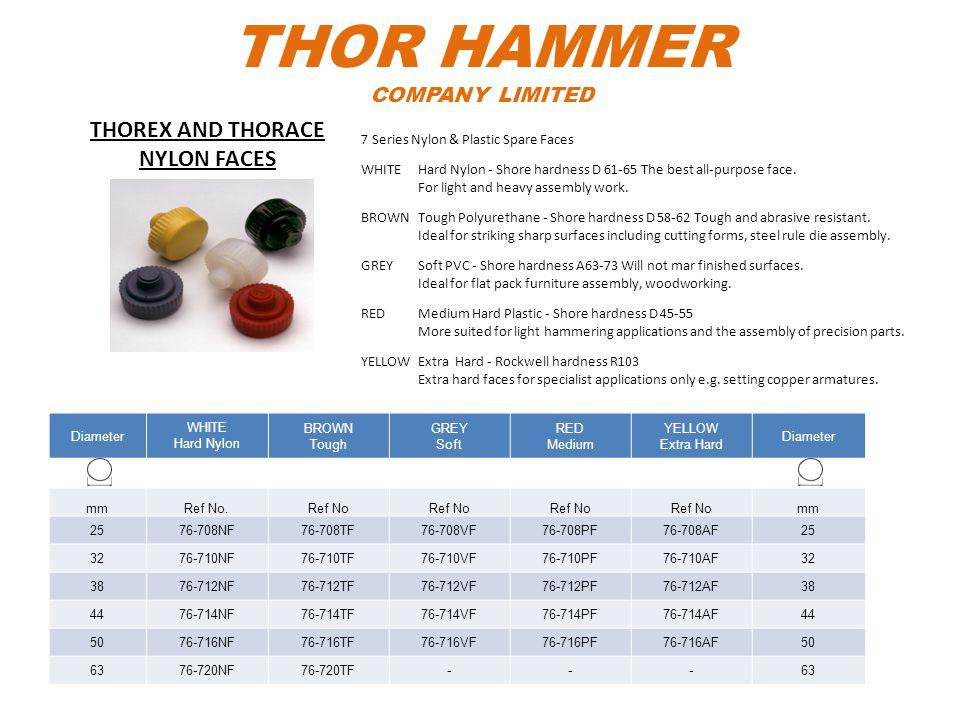 THOR HAMMER COMPANY LIMITED Diameter WHITE Hard Nylon BROWN Tough GREY Soft RED Medium YELLOW Extra Hard Diameter mmRef No.Ref No mm 2576-708NF76-708T