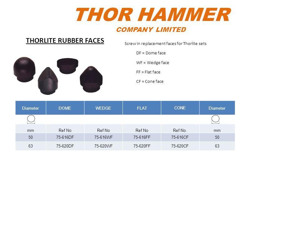 THOR HAMMER COMPANY LIMITED DiameterDOMEWEDGEFLATCONEDiameter mmRef No Ref No.mm 5075-616DF75-616WF75-616FF75-616CF50 6375-620DF75-620WF75-620FF75-620