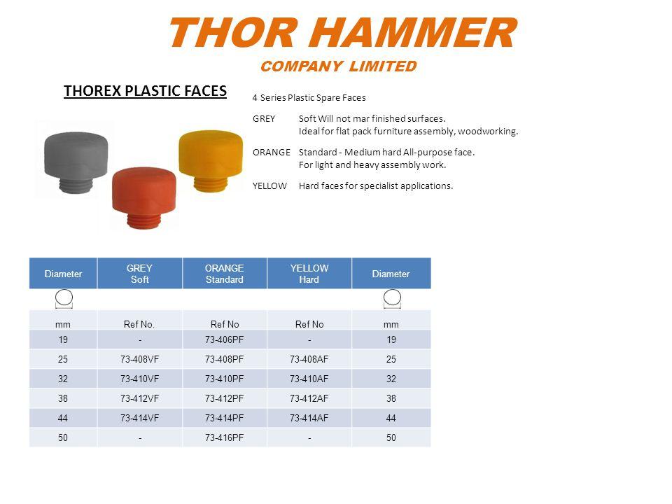 THOR HAMMER COMPANY LIMITED Diameter GREY Soft ORANGE Standard YELLOW Hard Diameter mmRef No.Ref No mm 19-73-406PF-19 2573-408VF73-408PF73-408AF25 327
