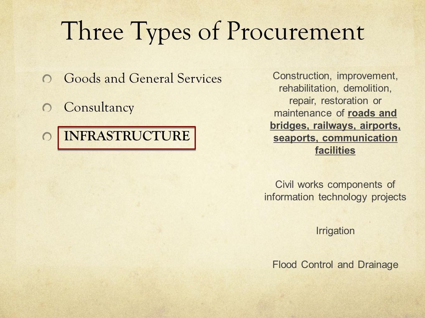 Goods and General Services Consultancy INFRASTRUCTURE Three Types of Procurement Construction, improvement, rehabilitation, demolition, repair, restoration or maintenance of roads and bridges, railways, airports, seaports, communication facilities Civil works components of information technology projects Irrigation Flood Control and Drainage