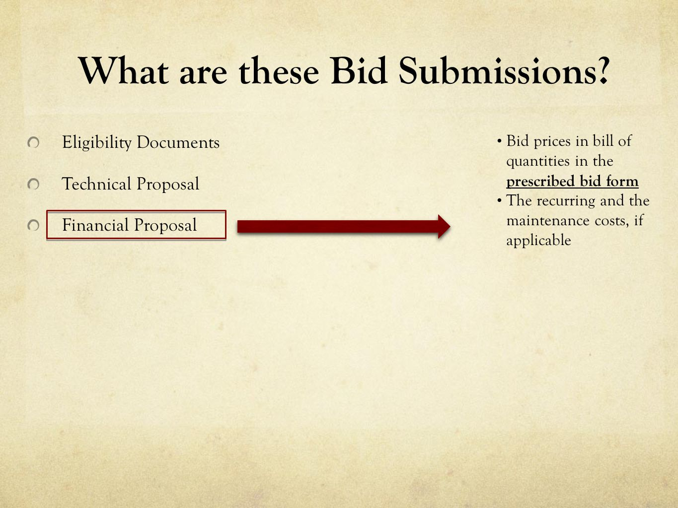Eligibility Documents Technical Proposal Financial Proposal What are these Bid Submissions? Bid prices in bill of quantities in the prescribed bid for