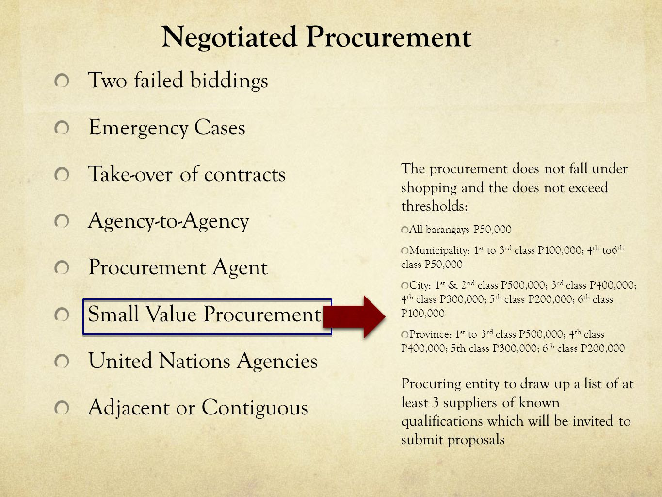 Negotiated Procurement Two failed biddings Emergency Cases Take-over of contracts Agency-to-Agency Procurement Agent Small Value Procurement United Na