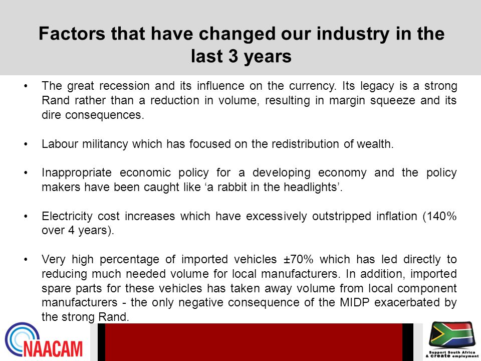Factors that have changed our industry in the last 3 years The great recession and its influence on the currency.