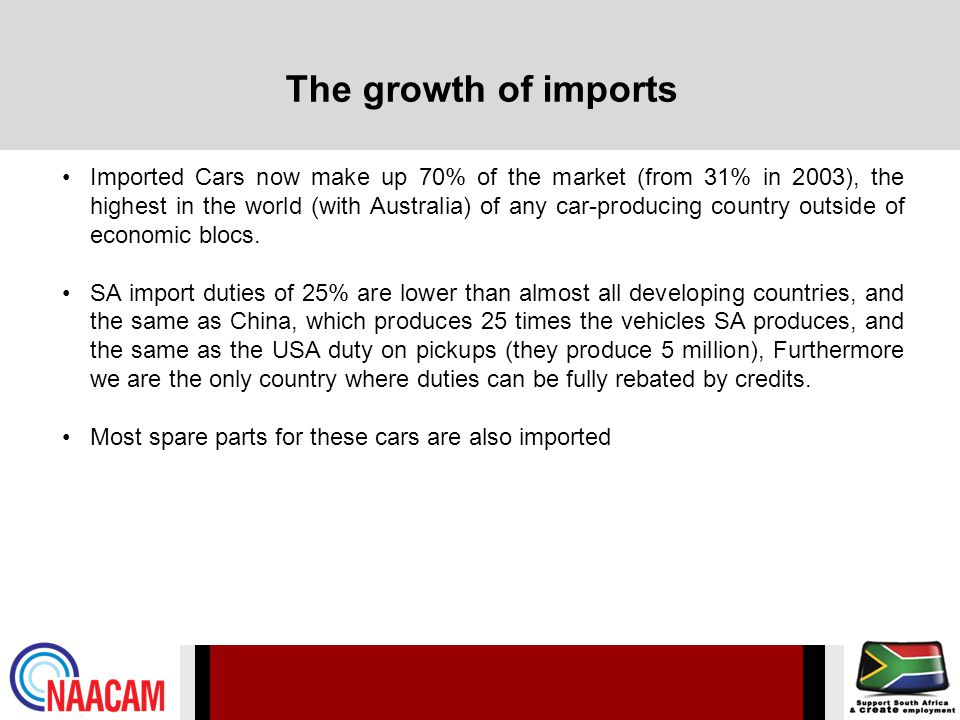 The growth of imports Imported Cars now make up 70% of the market (from 31% in 2003), the highest in the world (with Australia) of any car-producing country outside of economic blocs.