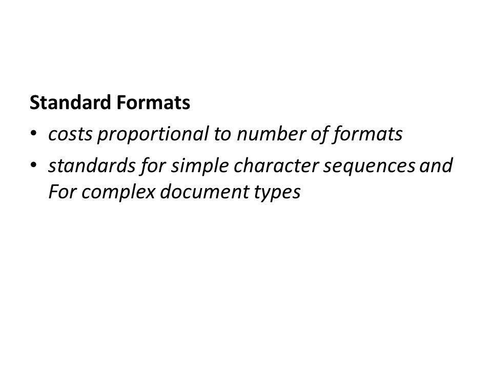 Standard Formats costs proportional to number of formats standards for simple character sequences and For complex document types