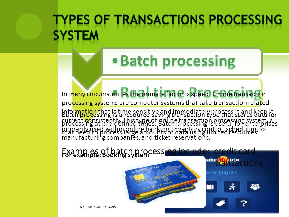 Batch processing is a resource-saving transaction type that stores data for processing at pre-defined times. Batch processing is useful for enterprise