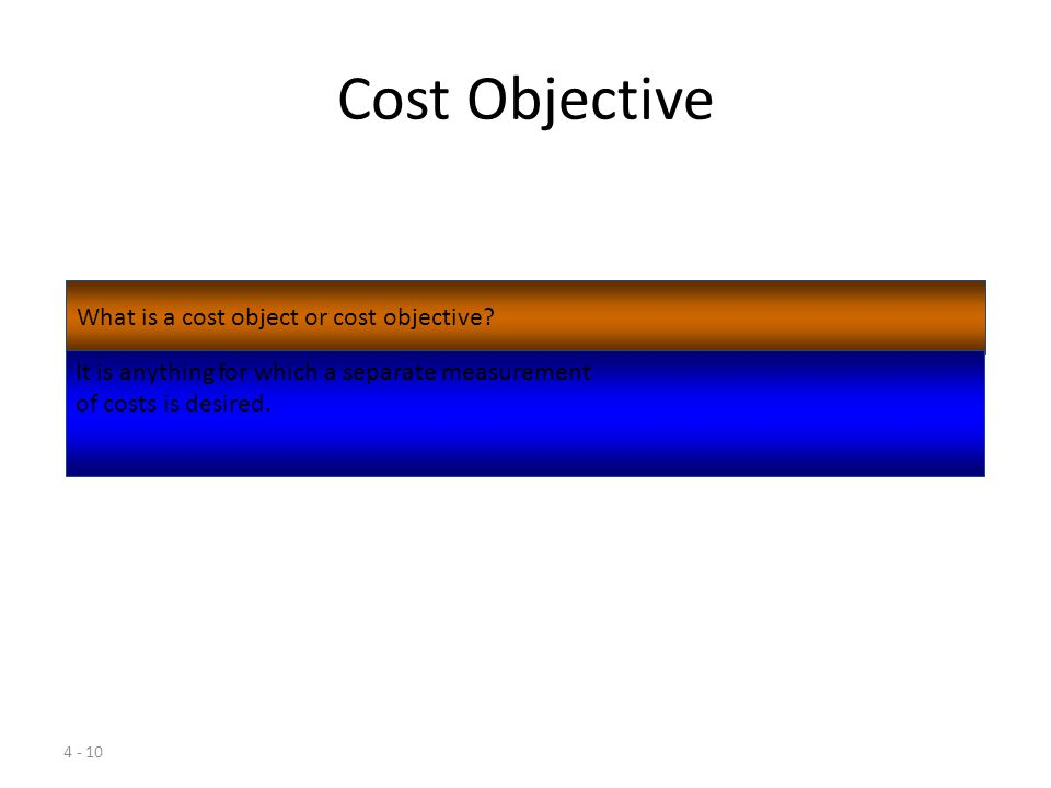 4 - 9 Cost A cost may be defined as a sacrifice or giving up of resources for a particular purpose.