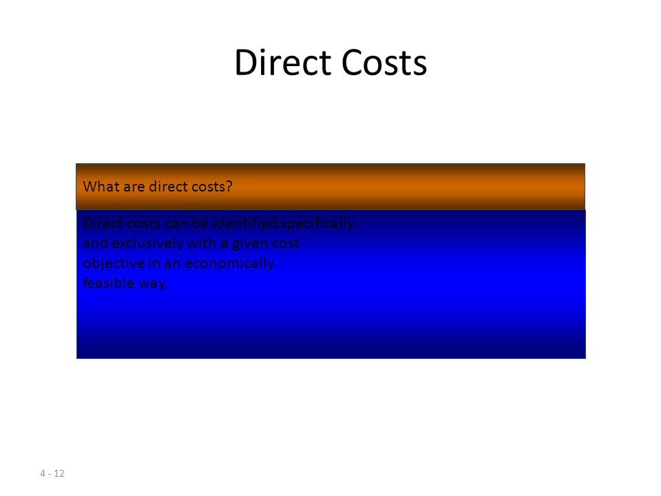 4 - 11 Learning Objective 3 Distinguish among direct, indirect, and unallocated costs.
