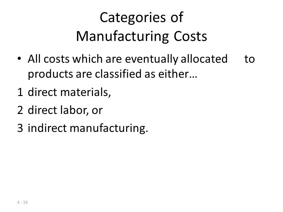 4 - 15 Categories of Manufacturing Costs Any raw material, labor, or other input used by any organization could, in theory, be identified as a direct or indirect cost depending on the cost objective.