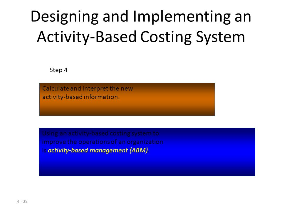 4 - 37 Designing and Implementing an Activity-Based Costing System Collect relevant data concerning costs and the physical flow of the cost-driver units among resources and activities.