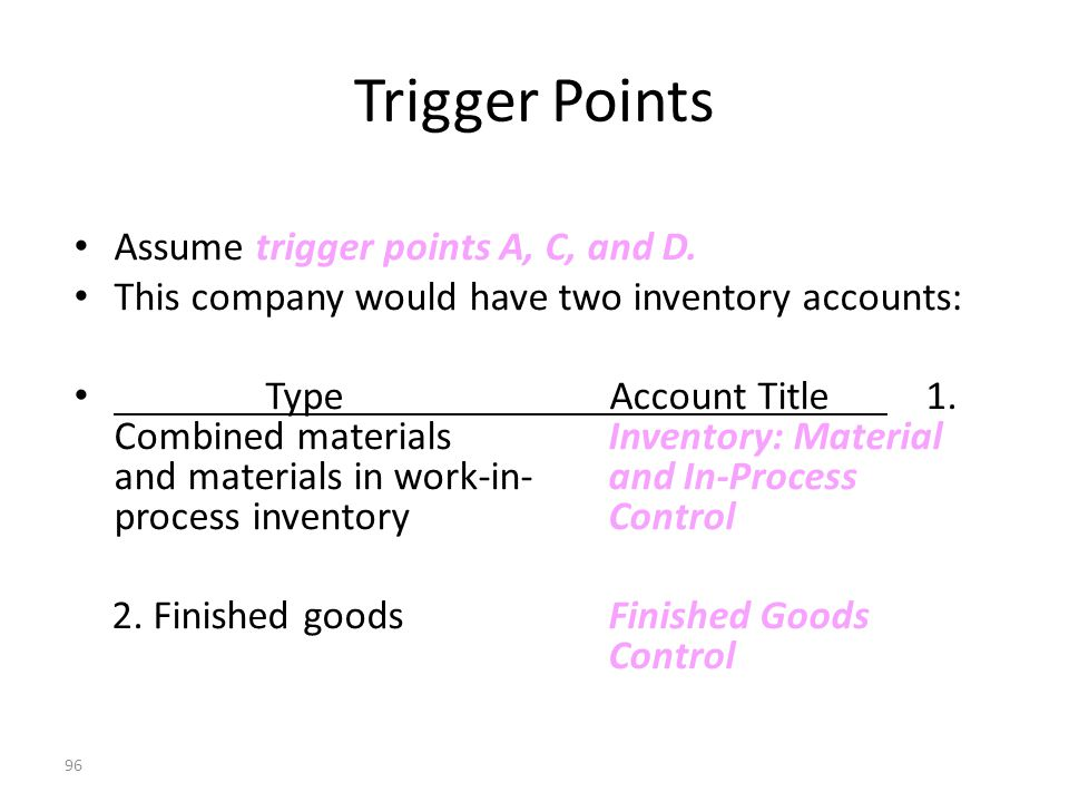 95 Trigger Points Stage A: Purchase of direct materials Stage B: Production resulting in work in process Stage C: Completion of a good finished unit or product Stage D: Sale of finished goods