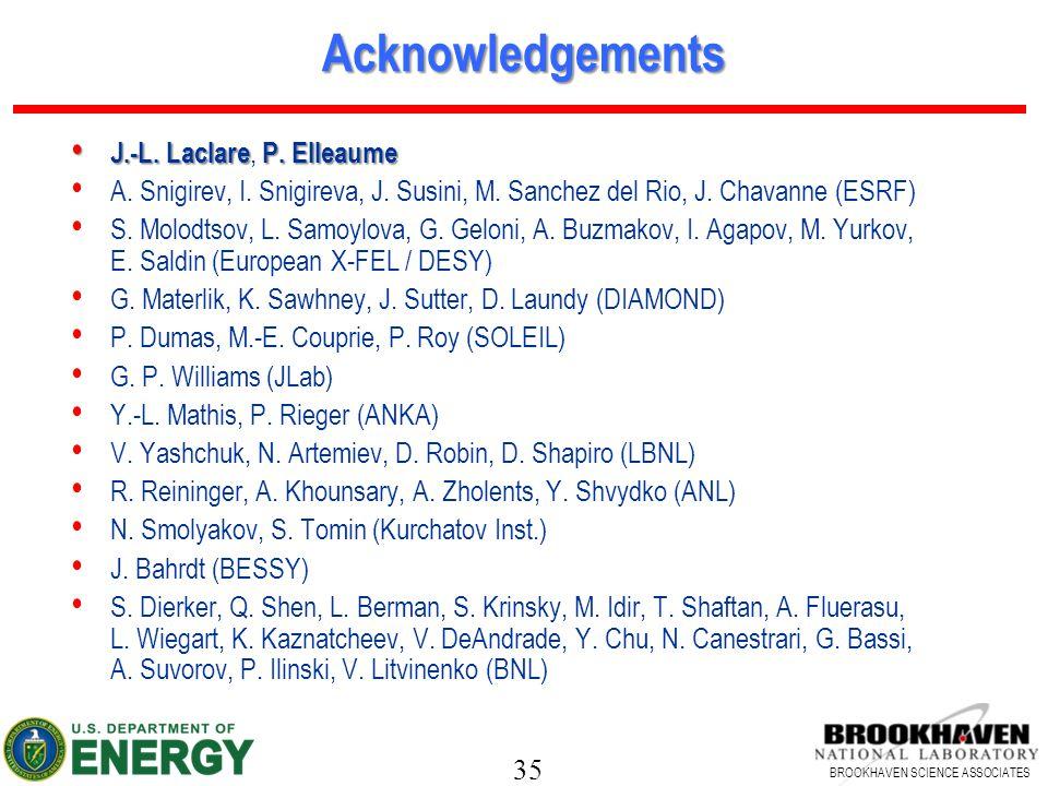 35 BROOKHAVEN SCIENCE ASSOCIATES Acknowledgements J.-L.