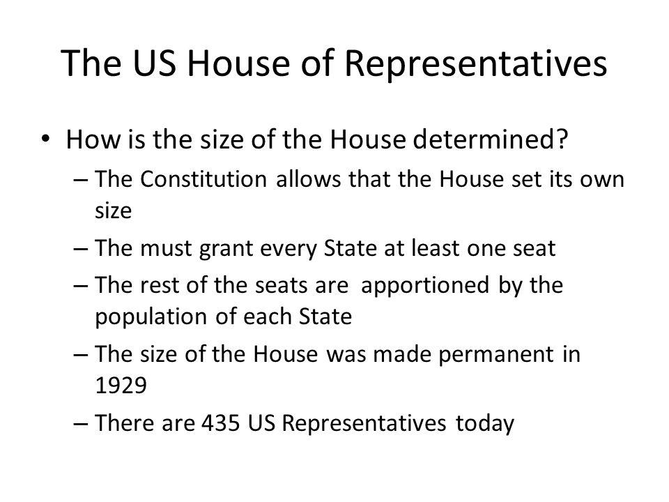 The US House of Representatives How is the size of the House determined.