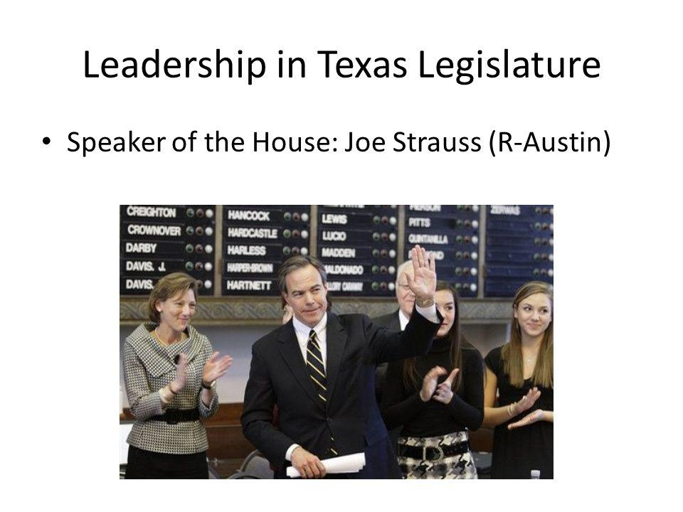 Leadership in Texas Legislature Speaker of the House: Joe Strauss (R-Austin)