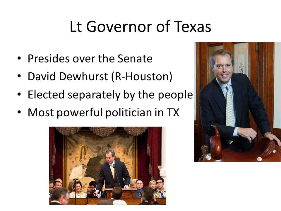 Lt Governor of Texas Presides over the Senate David Dewhurst (R-Houston) Elected separately by the people of Texas Most powerful politician in TX