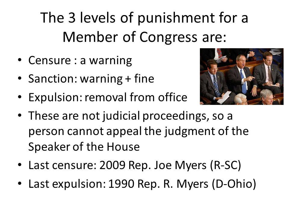 The 3 levels of punishment for a Member of Congress are: Censure : a warning Sanction: warning + fine Expulsion: removal from office These are not judicial proceedings, so a person cannot appeal the judgment of the Speaker of the House Last censure: 2009 Rep.
