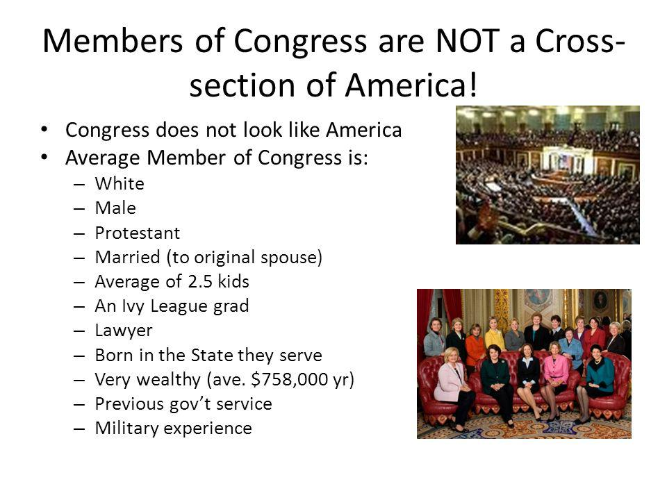Members of Congress are NOT a Cross- section of America.