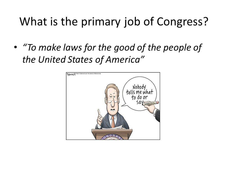 What is the primary job of Congress.