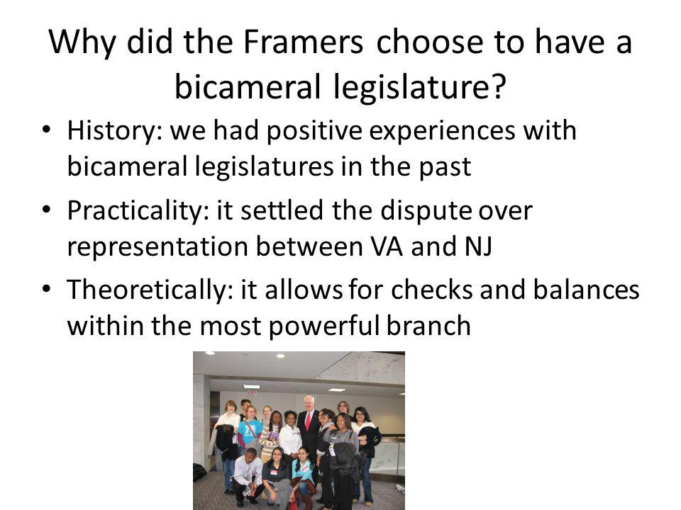 Why did the Framers choose to have a bicameral legislature.