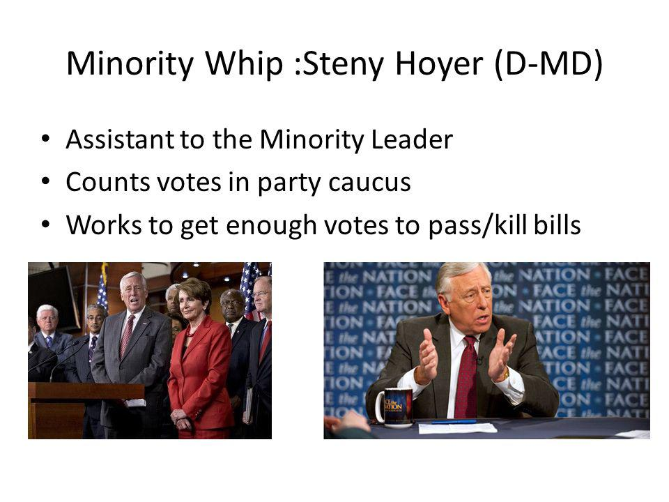 Minority Whip :Steny Hoyer (D-MD) Assistant to the Minority Leader Counts votes in party caucus Works to get enough votes to pass/kill bills