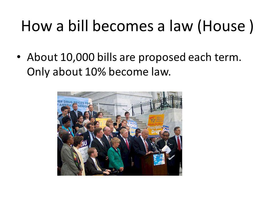 How a bill becomes a law (House ) About 10,000 bills are proposed each term.
