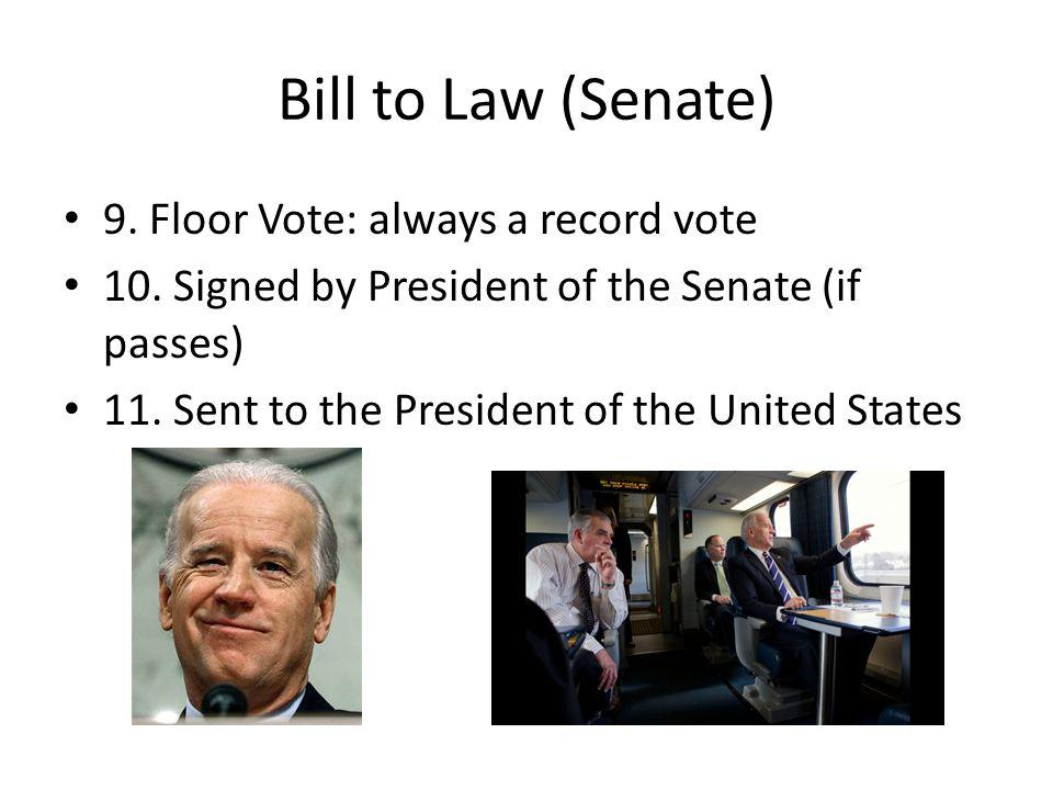 Bill to Law (Senate) 9. Floor Vote: always a record vote 10.