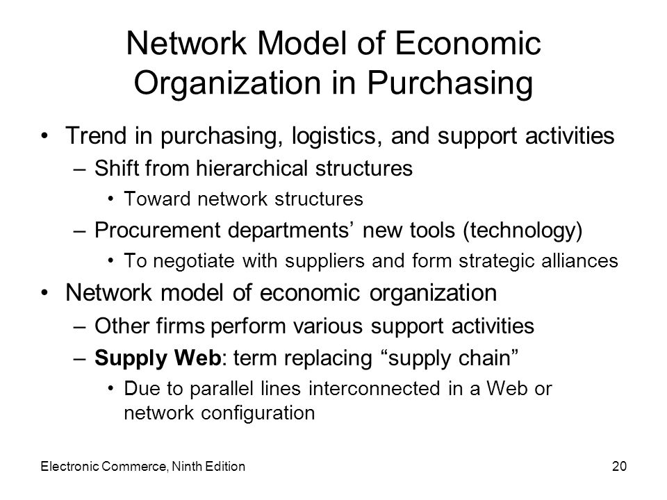 Network Model of Economic Organization in Purchasing Trend in purchasing, logistics, and support activities –Shift from hierarchical structures Toward network structures –Procurement departments new tools (technology) To negotiate with suppliers and form strategic alliances Network model of economic organization –Other firms perform various support activities –Supply Web: term replacing supply chain Due to parallel lines interconnected in a Web or network configuration Electronic Commerce, Ninth Edition20