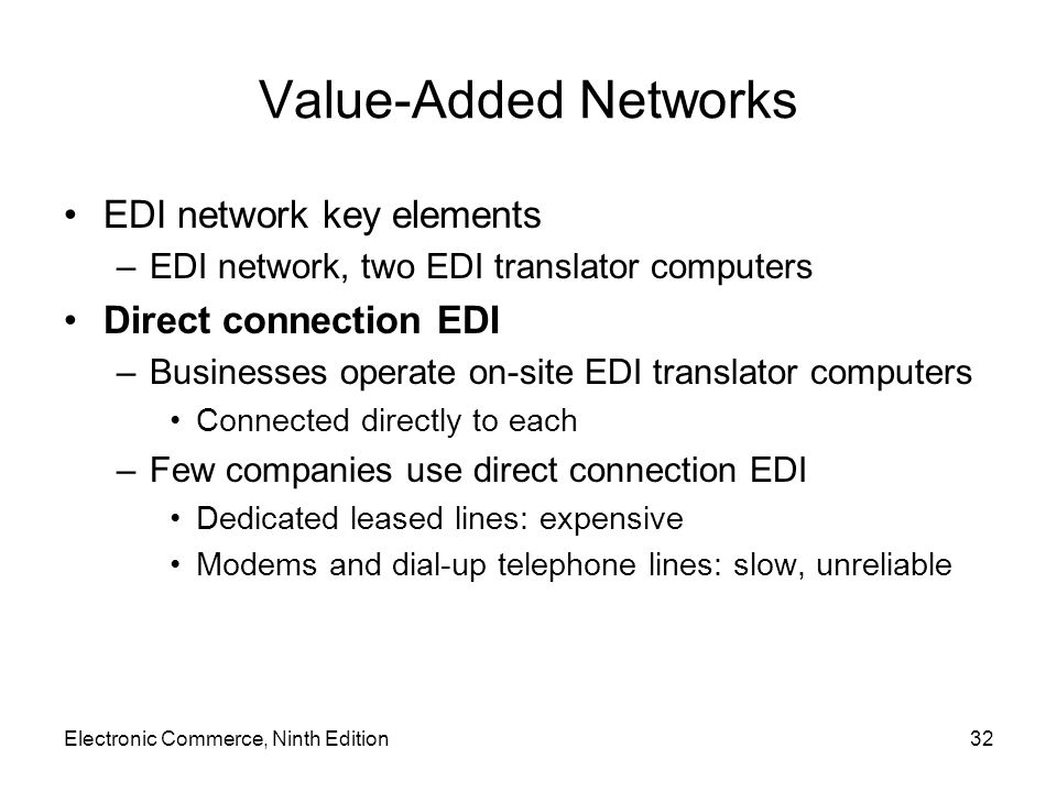 Value-Added Networks EDI network key elements –EDI network, two EDI translator computers Direct connection EDI –Businesses operate on-site EDI translator computers Connected directly to each –Few companies use direct connection EDI Dedicated leased lines: expensive Modems and dial-up telephone lines: slow, unreliable Electronic Commerce, Ninth Edition32